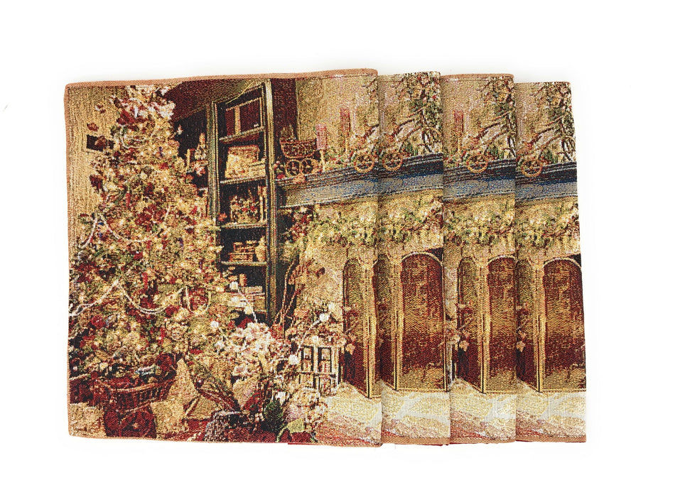 "Placemat - DaDa Bedding Golden Christmas Placemats, Set of 4 Holiday Tapestry 13"" x 19"" (14604) - DaDa Bedding Collection"