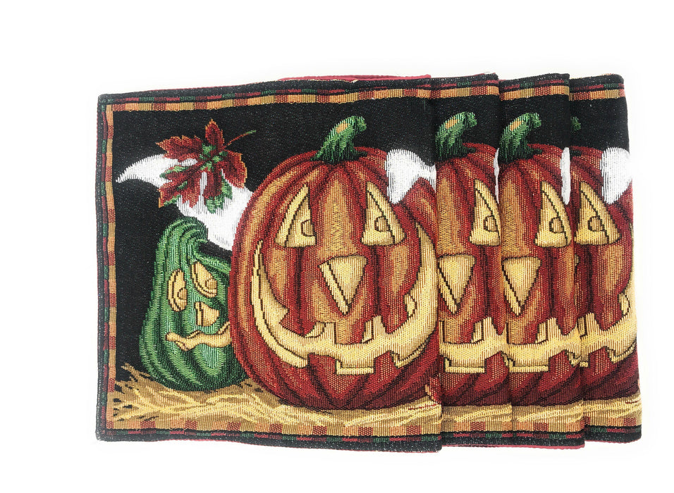 "Placemat - DaDa Bedding Halloween Pumpkin Placemats, Set of 4 Tapestry 13"" x 19"" (12914) - DaDa Bedding Collection"