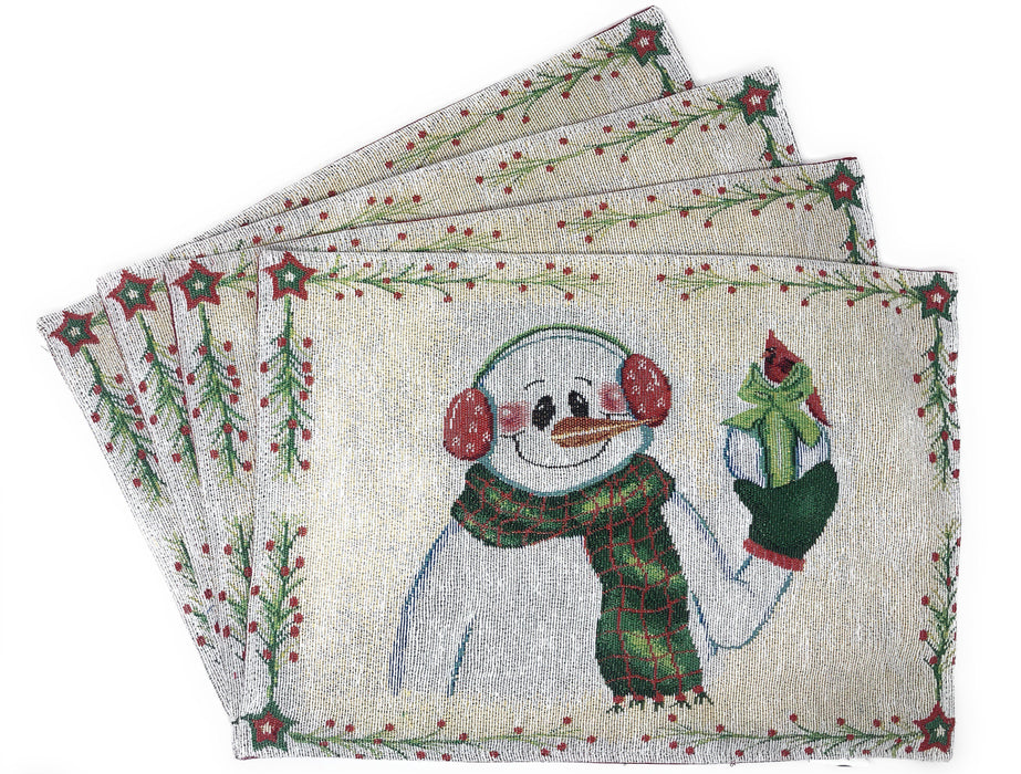"Placemat - DaDa Bedding Magical Snowman Placemats, Set of 4 Holiday Tapestry 13"" x 19"" (9733) - DaDa Bedding Collection"