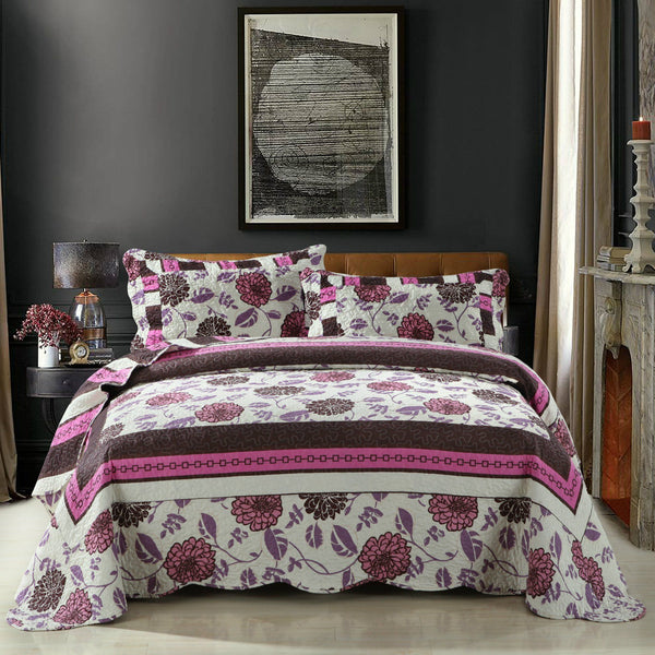 Quilt - DaDa Bedding Bohemian Floral Chrysanthemum Vines Hot Pink & Brown Reversible Patchwork Quilted Coverlet Bedspread Set (KBJ1629)