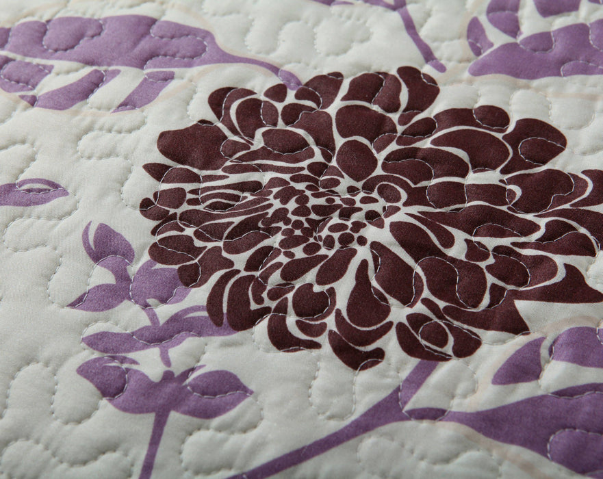 Quilt - DaDa Bedding Bohemian Floral Chrysanthemum Hot Pink Brown Bedspread Set (KBJ1629) - DaDa Bedding Collection