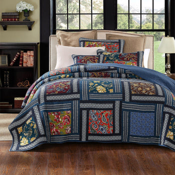 QUILT - DaDa Bedding Bohemian Floral Midnight Ocean Blue Sea Reversible Real Patchwork Quilted Coverlet Bedspread Set (JHW-572)
