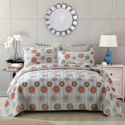 Quilt - DaDa Bedding Bohemian Constellations Sun & Stars Patchwork Quilted Bedspread Set (KBJ1631) - DaDa Bedding Collection