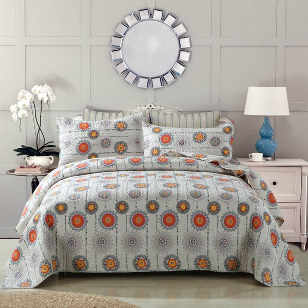Quilt - DaDa Bedding Bohemian Grey Twinkle Constellations Sun And Stars Thin & Lightweight Reversible Patchwork Quilted Coverlet Bedspread Set (KBJ1631)