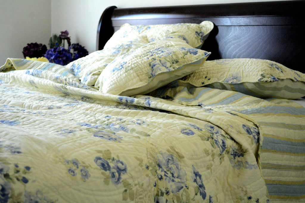 QUILT - DaDa Bedding Camellia Classic Floral Spring Pale Yellow & Blue Reversible Striped Back Quilted Coverlet Bedspread Set (DXJ101491)