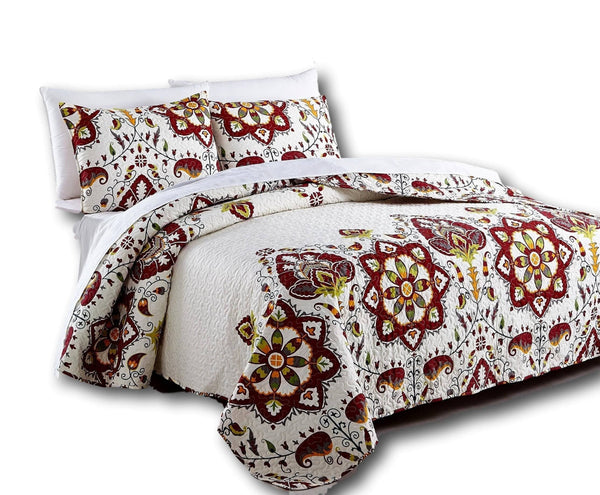 QUILT - DaDa Bedding Casablanca Elegant Bohemian Floral Red & White Quilted Coverlet Bedspread Set (HS-11130)