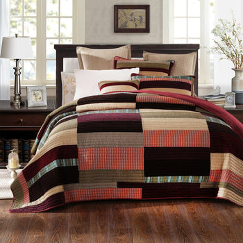 QUILT - DaDa Bedding Classical Desert Sands Warm Tones Velveteen Reversible Real Patchwork Quilted Coverlet Bedspread Set (JHW-577)