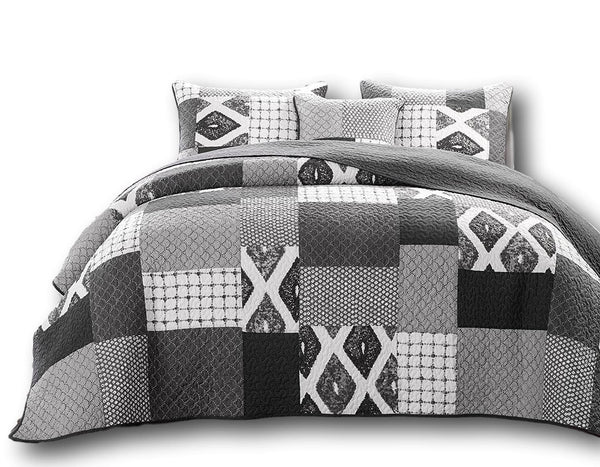 Quilt - DaDa Bedding Classical Geometric Shades Of Grey Reversible Real Patchwork Quilted Coverlet Bedspread Set (JHW-606)
