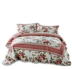 Quilt - DaDa Bedding Dainty Bohemian Cottage Dusty Roses Floral Quilted Bedspread Set (KBJ1627)