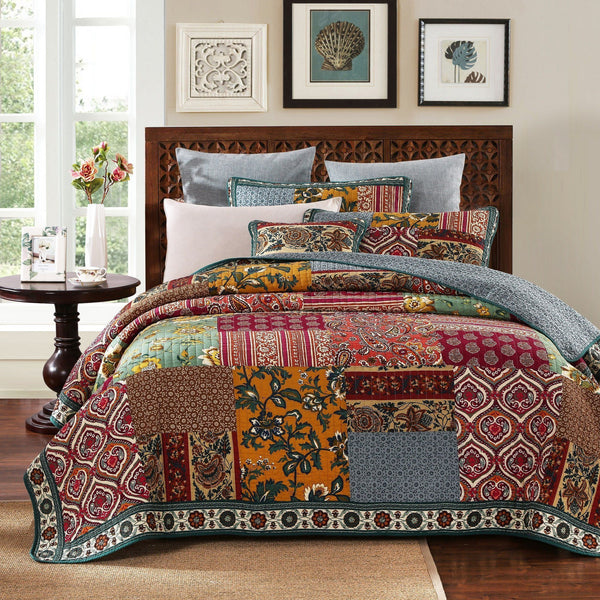 QUILT - DaDa Bedding Dark Elegance Bohemian Burgundy Purple Floral Paisley Cotton Real Patchwork Quilted Coverlet Bedspread Set (JHW-550)