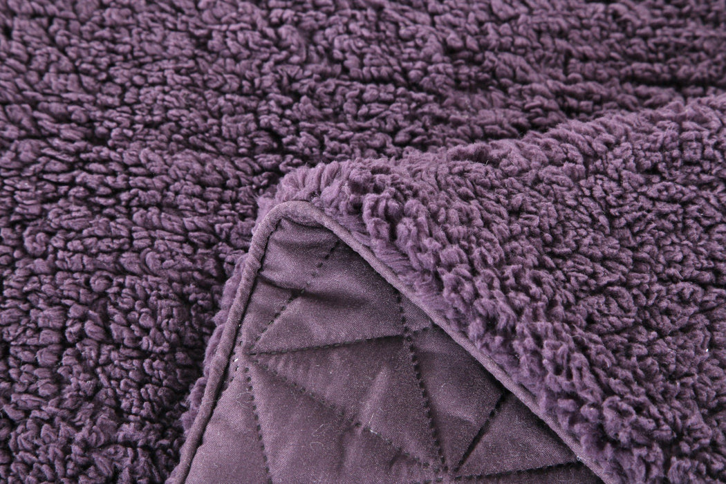 DaDa Bedding Eggplant Aubergine Reversible Quilted Ultra Sonic Throw Inspiration Eggplant Throw Blanket