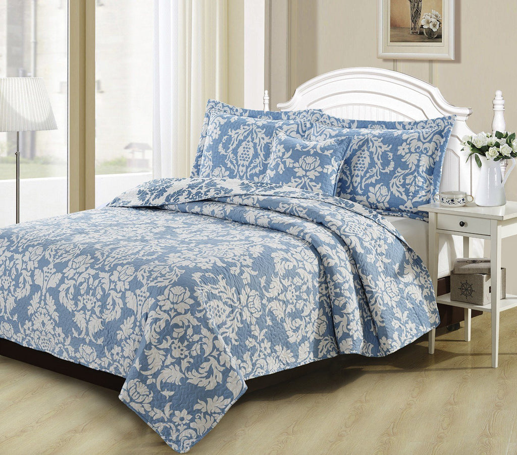 QUILT - DaDa Bedding Enchanted Breeze Victorian Elegant Light Blue Damask Floral Quilted Coverlet Bedspread Set (ElizabethBlue)