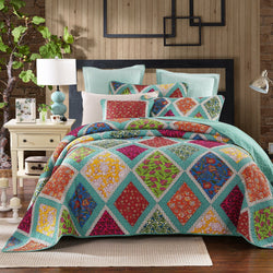 QUILT - Dada Bedding Fairy Forest Glade Bohemian Floral Diamond Turquoise Real Patchwork Reversible Cotton Quilted Coverlet Bedspread Set (JHW570)