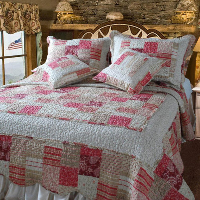 QUILT - DaDa Bedding Floral Carnations Red White Patchwork Quilted Bedspread Set, King, 5 PCS (DXJ103197) - DaDa Bedding Collection