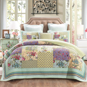 Quilt - DaDa Bedding Frosted Pastel Gardenia Bohemian Reversible Cotton Real Patchwork Quilted Coverlet Bedspread Set (JHW-604)
