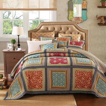 QUILT - Dada Bedding Gallery Of Roses Floral Colorful Navy Golden Beige Bohemian Reversible Cotton Real Patchwork Quilted Coverlet Bedspread Set (JHW546)