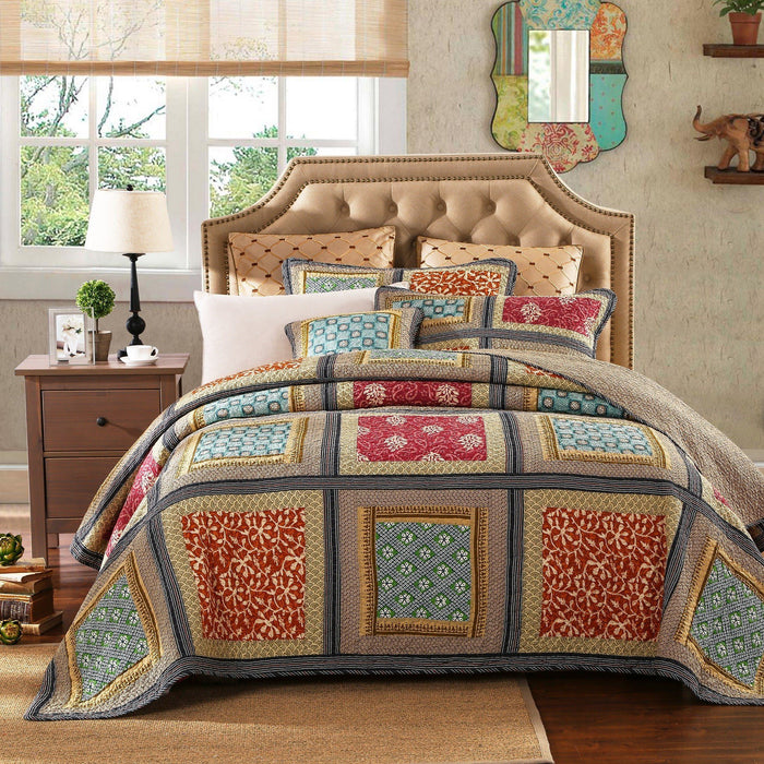 QUILT   Dada Bedding Gallery Of Roses Floral Colorful Navy Golden Beige  Bohemian Reversible Cotton Real ...