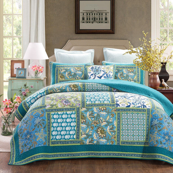 Quilt - DaDa Bedding Greek Mediterranean Fountain Bohemian Turquoise Teal Blue Reversible Cotton Real Patchwork Quilted Coverlet Bedspread Set (JHW-603)
