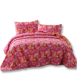 Quilt - DaDa Bedding Lovely Pop of Color Starburst Bright Quilted Bedspread Set (KBJ1625) - DaDa Bedding Collection