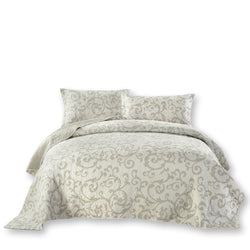 QUILT - DaDa Bedding Luxe Couture Floral White Freesia Vineyard Elegant Quilted Coverlet Bedspread Set (HS-8760)