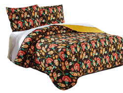 QUILT - DaDa Bedding Marigold's Floral Brown & Yellow Autumn Garden Bohemian Quilted Bedspread Set (HS-3330) - DaDa Bedding Collection