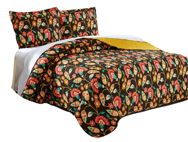 QUILT - DaDa Bedding Marigold's Floral Brown & Yellow Autumn Garden Elegant Bohemian Reversible Quilted Coverlet Bedspread Set (HS-3330)