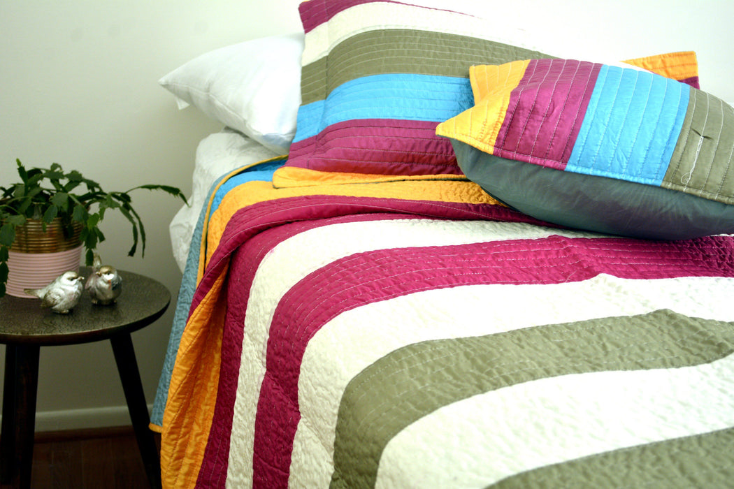QUILT - DaDa Bedding Suburban Striped Metallic Shiny Colorful Bedspread Set - Twin (DXJ106215) - DaDa Bedding Collection