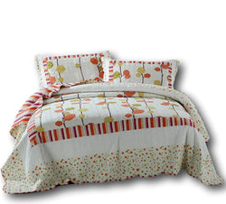 Quilt - DaDa Bedding Autumn Harvest Clementine Polka Dot Orange & White Reversible Bedspread Set (KBJ1628) - DaDa Bedding Collection