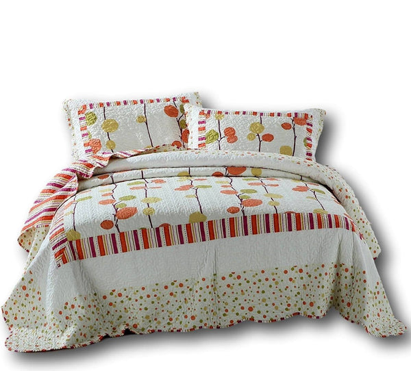 Quilt - DaDa Bedding Polka Dots Vineyard Orange & White Reversible Quilted Coverlet Bedspread Set (KBJ1628)