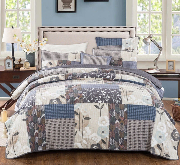 QUILT - DaDa Bedding Quiet Country Farmhouse Real Patchwork Cotton Quilted Coverlet Bedspread Set (JHW-675)