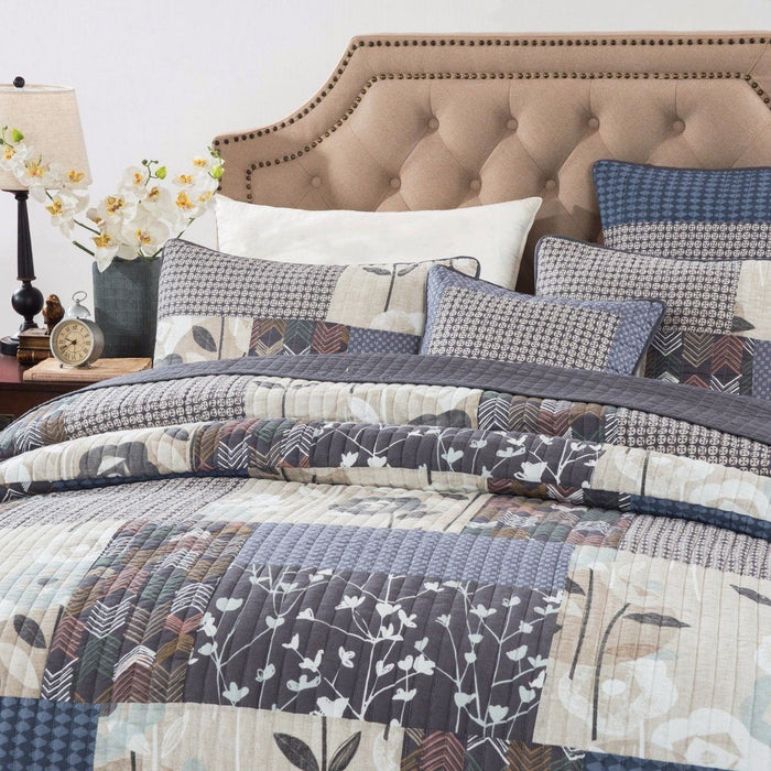 ... QUILT   DaDa Bedding Quiet Country Farmhouse Real Patchwork Cotton  Quilted Coverlet Bedspread Set (JHW ...