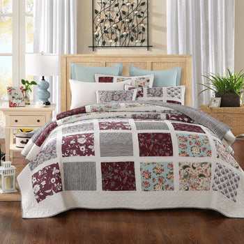 Quilt - DaDa Bedding Seafoam Merlot Burgundy Pines Floral Bohemian Cotton Real Patchwork Reversible Quilted Coverlet Bedspread Set (JHW-618)