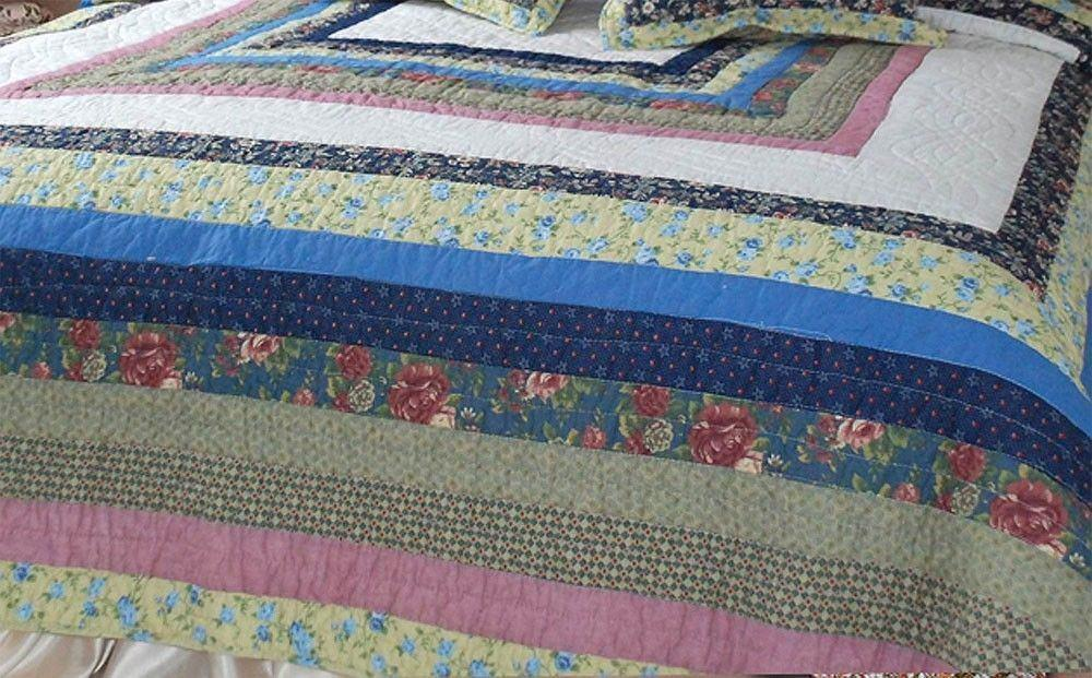 QUILT - DaDa Bedding Spring Patio 100% Cotton Real Patchwork Quilted Bedspread Set -  3-5 Pieces (DXJ100286) - DaDa Bedding Collection
