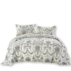 QUILT - DaDa Bedding Victorian Candelabra Floral Filigree Damask Black & White Elegance Bedspread Set (Aimee) - DaDa Bedding Collection