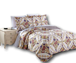 QUILT - DaDa Bedding Wisteria Roses Floral Elegant Bohemian Patchwork Quilted Bedspread Set (HS-1003) - DaDa Bedding Collection