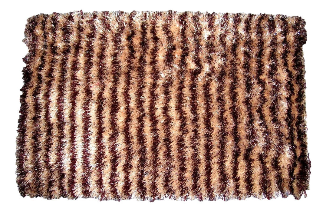 "DaDa Bedding Shaggy Soft Door Mat Carpet Rug - 20"" x 32"" Striped Shiny Coffee Light Beige / Dark Brown"