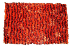 "DaDa Bedding Shaggy Soft Rectangle Door Mat Bath Carpet Rug - 20"" x 32"", Striped Orange & Brown"
