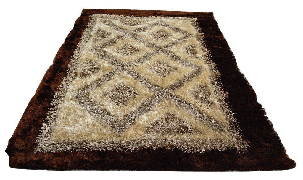 RUG U0026 MAT   DaDa Bedding Soft Viscose Fabric 3D Bordered Shiny Dark Brown  Cream Geometric