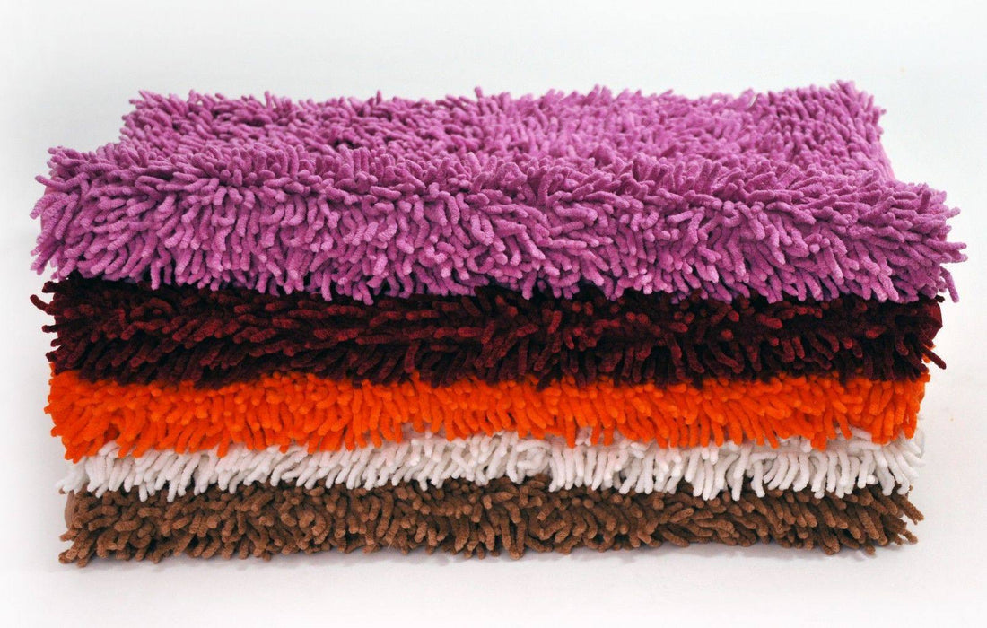 RUG & MAT - DaDa Bedding Cotton Chenille Shaggy Rug Mat - White - DaDa Bedding Collection