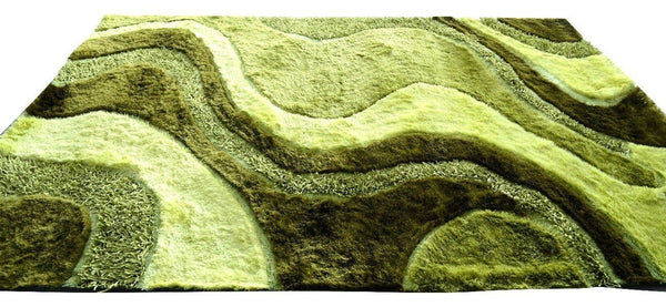 RUG & MAT - DaDa Bedding Three Dimensional 3D Modern Curved Viscose Solid Lime Green Apple Soft Shaggy Carpet Rug