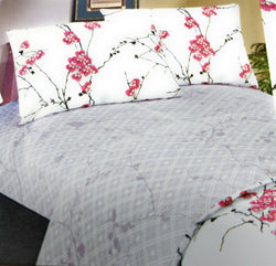 SHEET SET - DaDa Bedding Floral Cherry Blossoms Red Purple Fitted & Flat Sheet w/ Pillow Cases Set (FSFS8318) - DaDa Bedding Collection