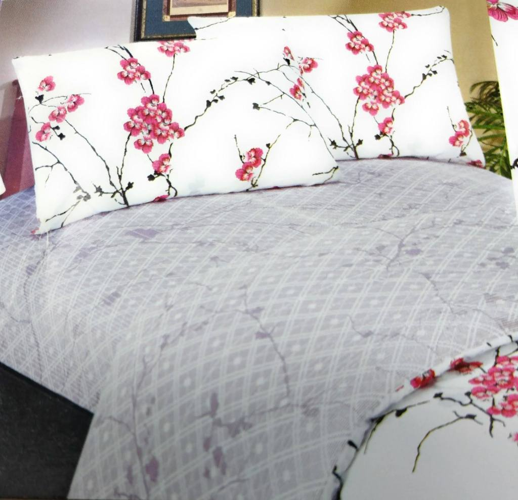 SHEET SET - DaDa Bedding Blossoming Floral Sakura Cherry Blossoms Red White Purple Flat Sheets Set & Pillow Cases Sham Cover (FS8318)