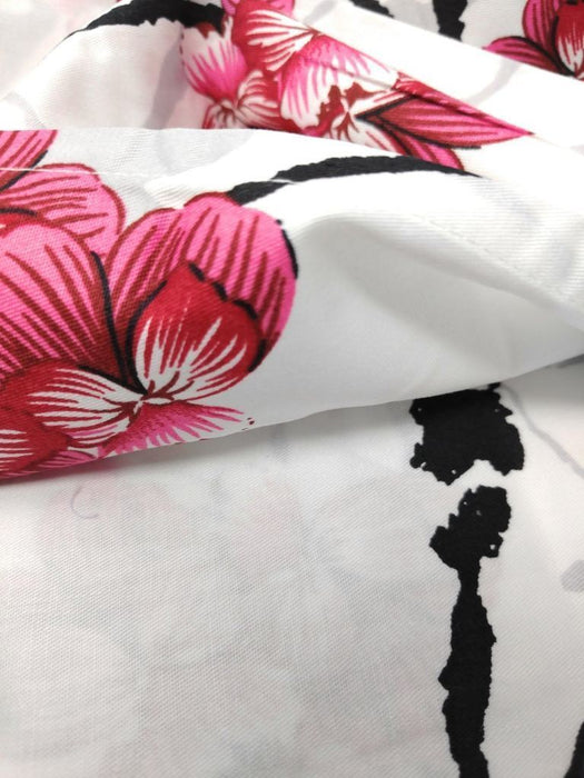 SHEET SET - DaDa Bedding Floral Cherry Blossoms Red Purple Flat Sheet & Pillow Cases Set (FS8318) - DaDa Bedding Collection