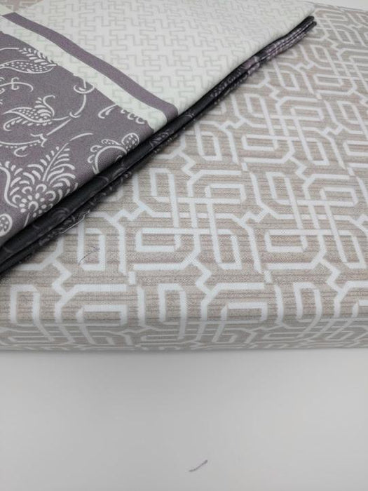 SHEET SET - DaDa Bedding Grey Floral Paisley Fitted & Flat Sheet w/ Pillow Cases Set (FSFS8222) - DaDa Bedding Collection