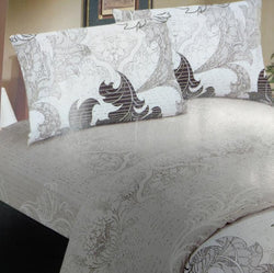 SHEET SET - DaDa Bedding Paisley Grey Floral Leaves Fitted Sheet & Pillow Cases Set (FTS8197) - DaDa Bedding Collection