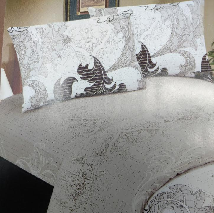 SHEET SET - DaDa Bedding Elegant Jacquard Paisley Grey Floral Real Leaves Linen Flat Sheet & Pillow Cases Sham Cover (FS8197