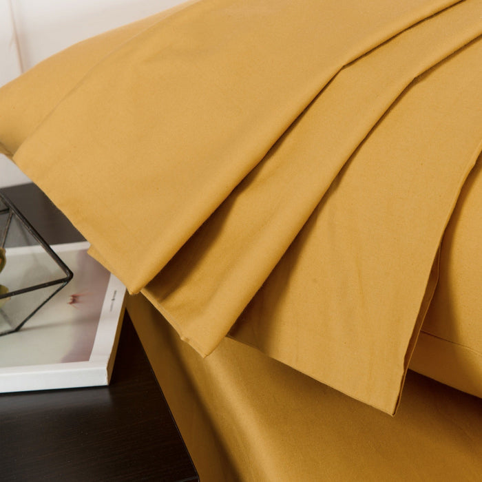 SHEET SET - DaDa Bedding Luxury Dark Elegance Yellow Soft Fitted Sheet & Pillow Cases Set  (JHW-550-Fitted) - DaDa Bedding Collection