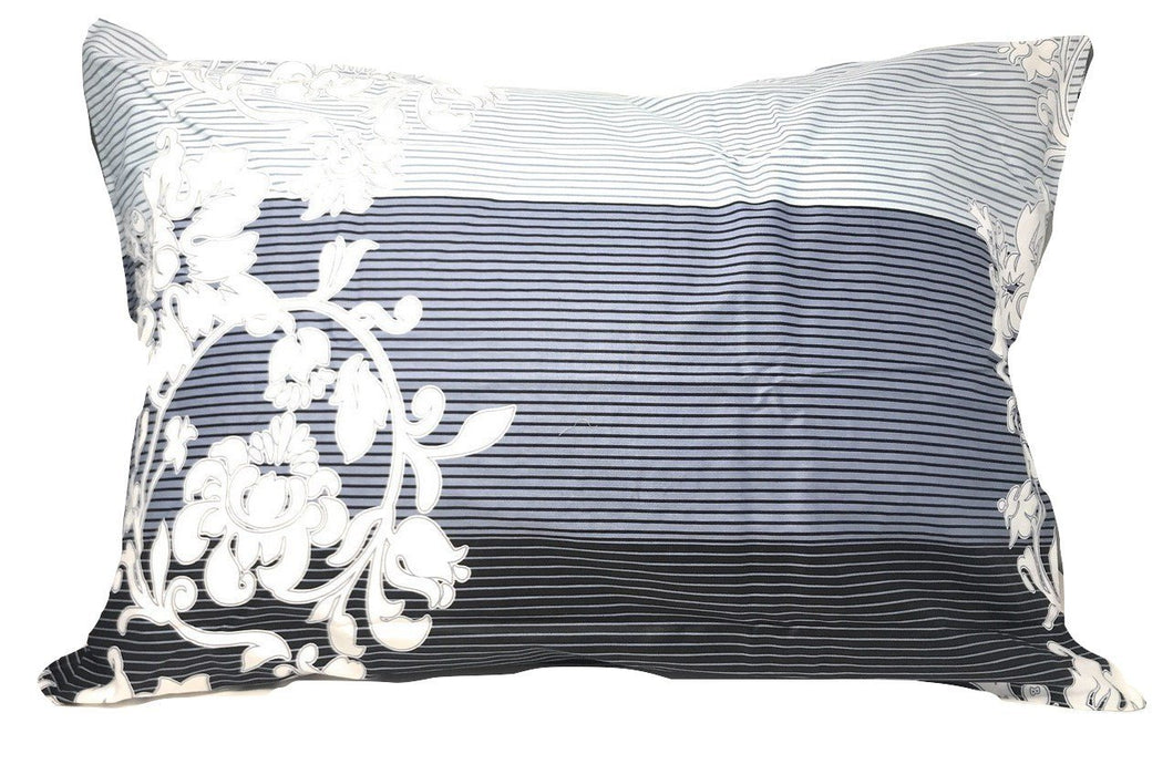 SHEET SET - DaDa Bedding Navy Blue Floral Striped Fitted Sheet & Pillow Cases Set (FTS8153) - DaDa Bedding Collection