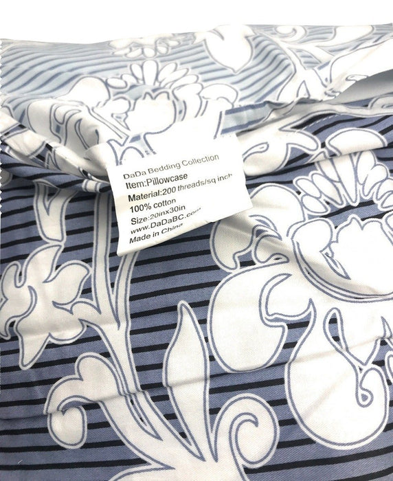 SHEET SET - DaDa Bedding Navy Blue Floral Striped Fitted Sheet & Pillow Cases Set - Twin Size (FTS8153) - DaDa Bedding Collection