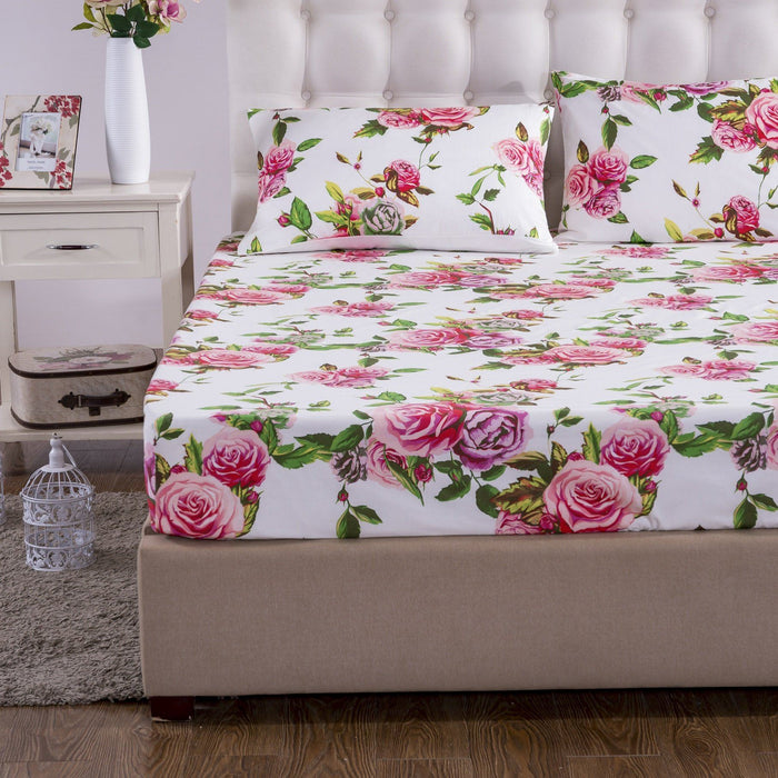 SHEET SET - DaDa Bedding Romantic Roses Fitted Bed Sheet w/ Pillow Cases Set, Lovely Spring Pink Floral (JHW879-Fitted) - DaDa Bedding Collection